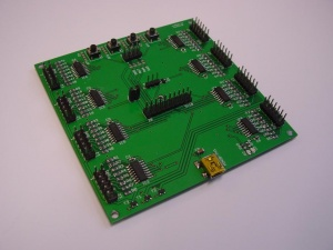 A closeup of the assembled board